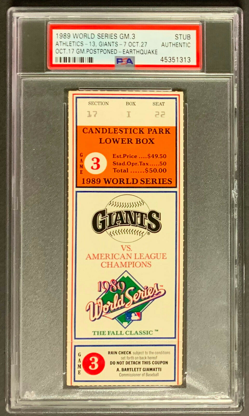 1989 World Series Ticket Candlestick Park Earthquake Game 3 Giants PSA Authentic