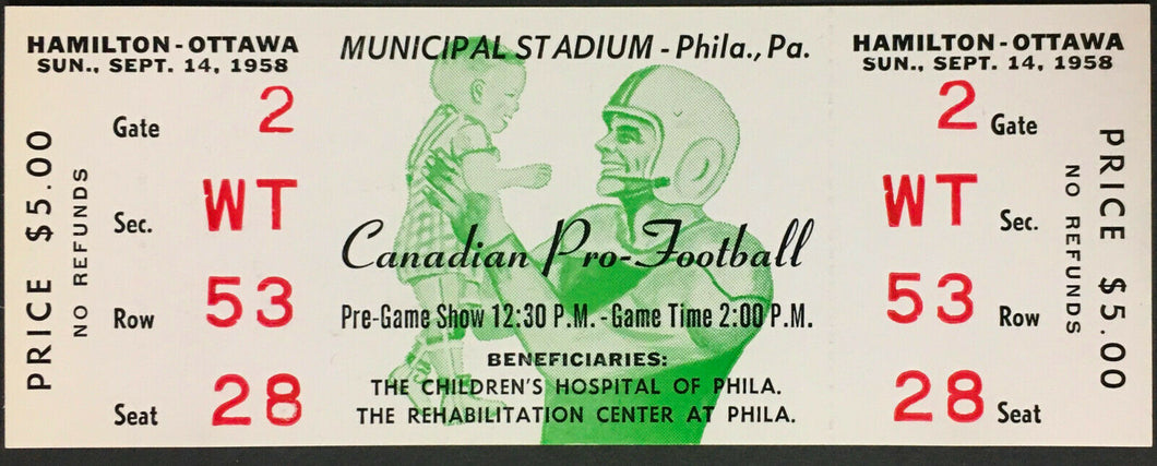 1958 CFL Football Ticket Hamilton Tiger Cats Ottawa Rough Riders @ Philadelphia