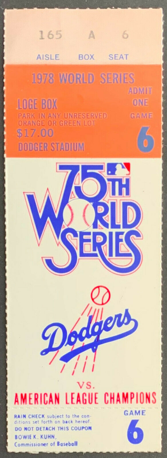 1978 Dodger Stadium World Series Ticket Game 6 New York Yankees Clinch Dodgers