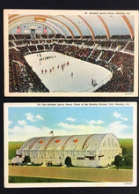 Load image into Gallery viewer, 1940 Hershey Sports Arena Postcard Interior + Exterior Views Hockey Basketball