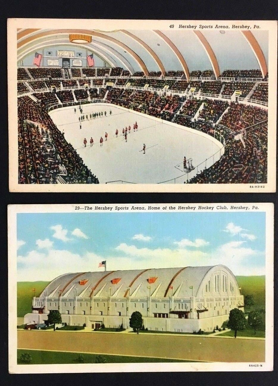 1940 Hershey Sports Arena Postcard Interior + Exterior Views Hockey Basketball