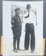 1938 Howard Hughes Press Photo Iconic Aviator Roosevelt Field With William Begg