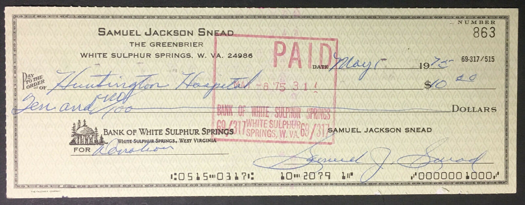 1975 Sam Snead Signed Greenbrier Check US Open Golf Vintage Bank Cheque