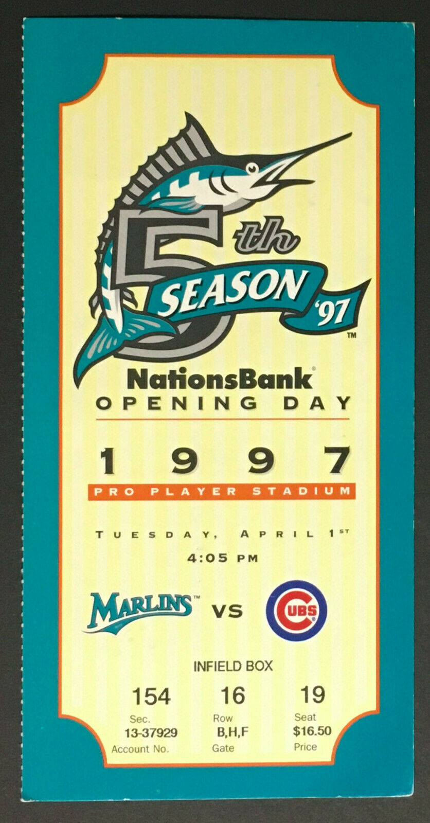1997 Pro Player Stadium Florida Marlins v Cubs Opening Day Ticket 5th Season MLB