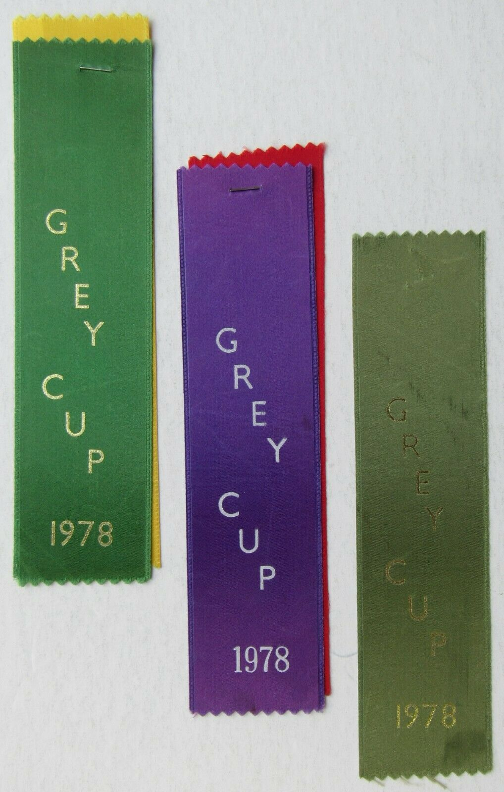 1978 Vintage CFL Grey Cup Ribbons Lot (3) - Used To Be Attached To Credentials