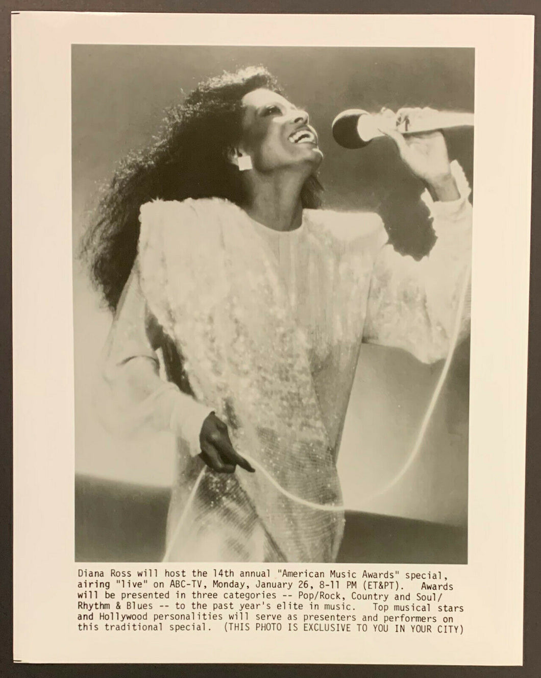 1987 Vintage Diana Ross Original Press Wire Photo Hosting American Music Award