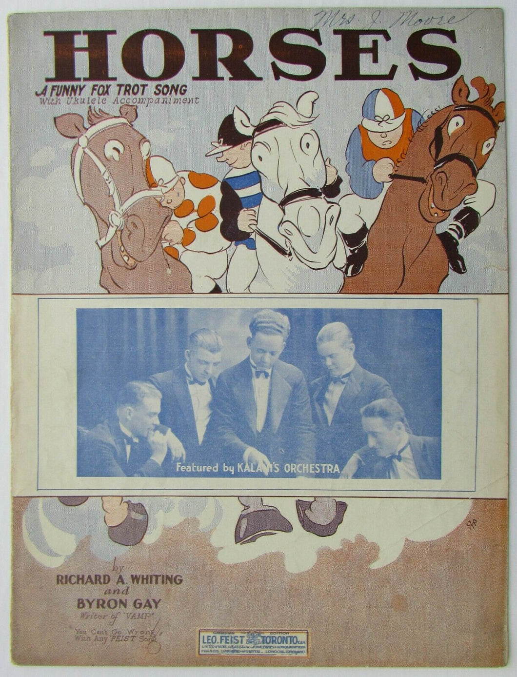 1936 Original Horse - A Funny Fox Trot Song PVG Sheet Music - Richard A Whiting