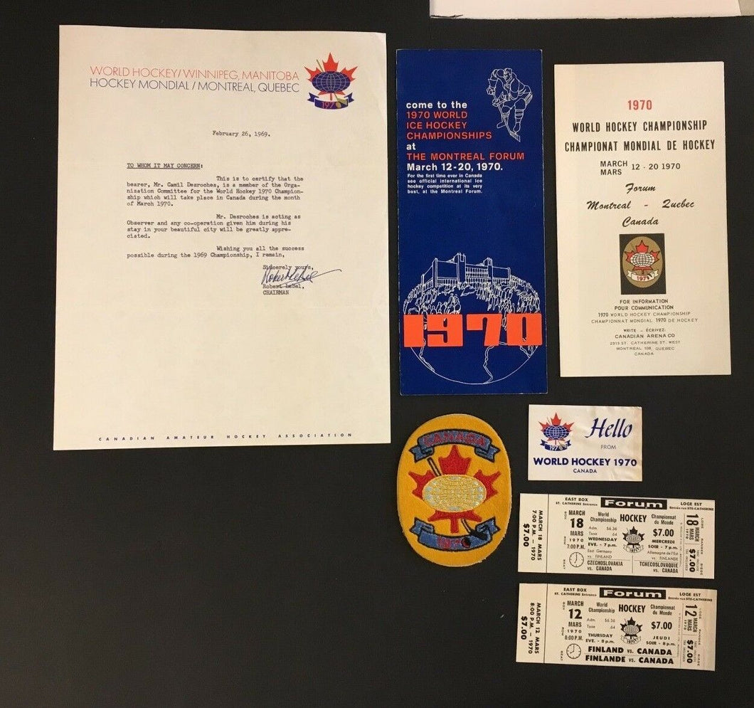 1970 World Hockey Championship Tournament Tickets Patch + Other Vintage Items