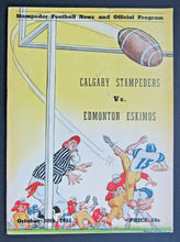 Load image into Gallery viewer, 1961 McMahon Stadium CFL Program Calgary vs Edmonton + Bobby Dobbs Autograph
