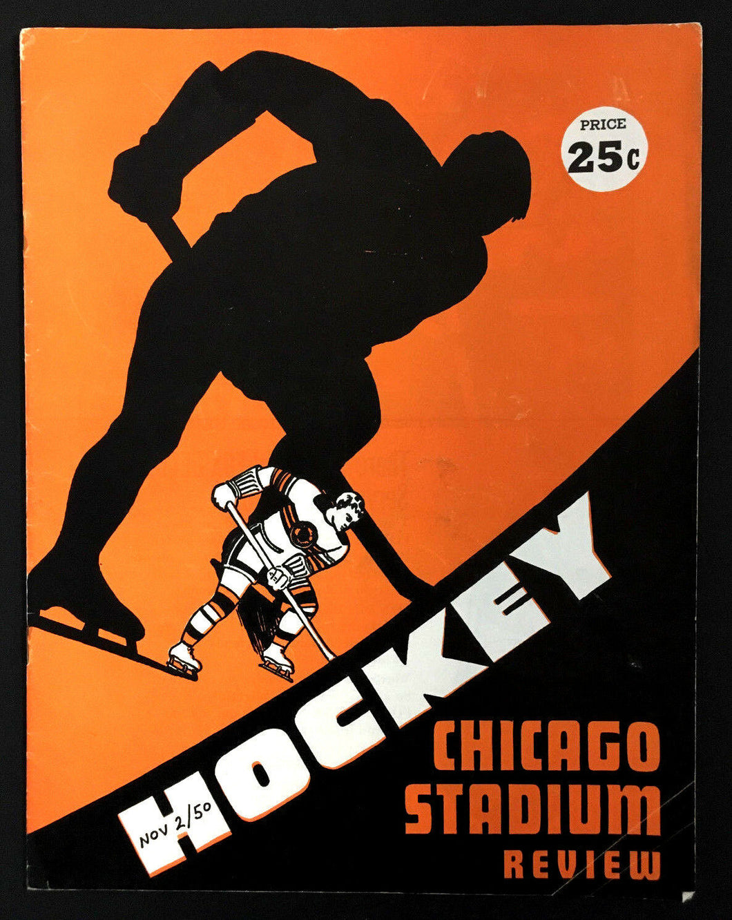 1950 Chicago Stadium Hockey Program Boston Bruins vs Chicago Blackhawks NHL