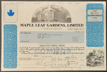 Load image into Gallery viewer, Vintage 1994 Original Stock Certificate Toronto Maple Leaf Gardens MLSE