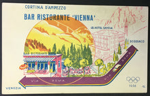 Load image into Gallery viewer, 1956 Winter Olympics Post Card Cortina d'Ampezzo Italy Vienna Hotel Advertising