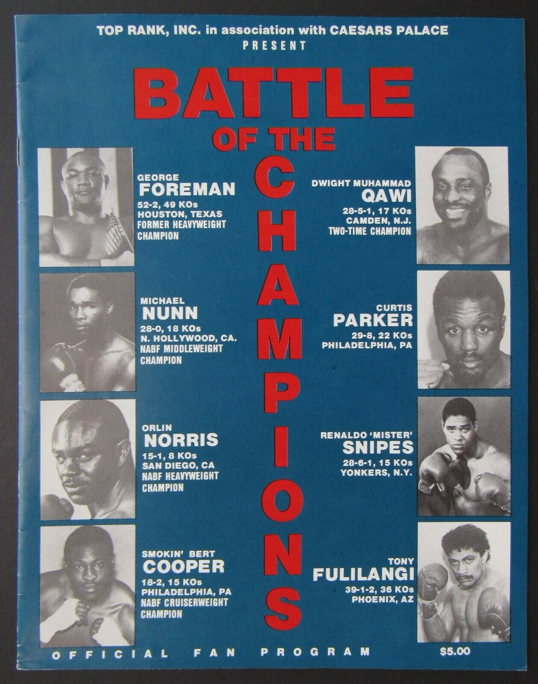 1988 Boxing Program Battle Of The Champs Caesars Palace Vegas - George Foreman