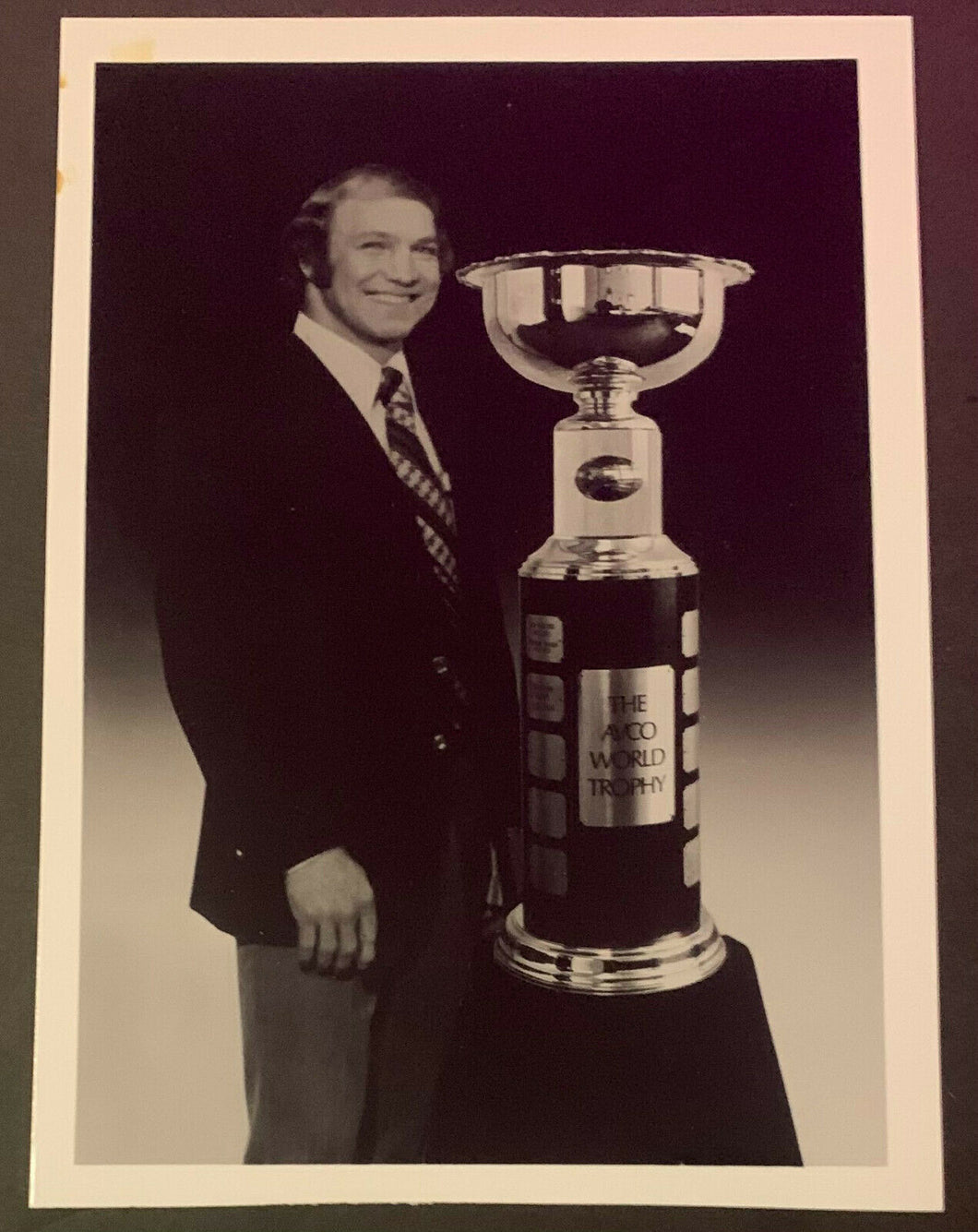 Vintage Rare Photo Bobby Hull With WHA Avco Cup World Hockey Association Trophy