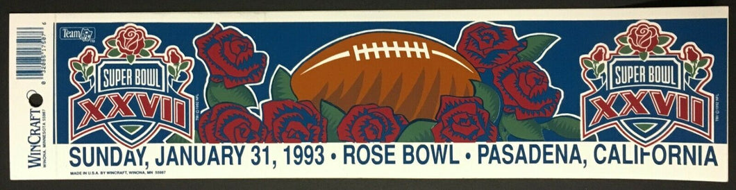 1993 Super Bowl XXVII NFL Football Bumper Sticker Car Decal Rose Bowl California