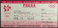 1998 Winter Olympics Men's Ice Hockey Ticket Czech Republic Kazakhstan Nagano