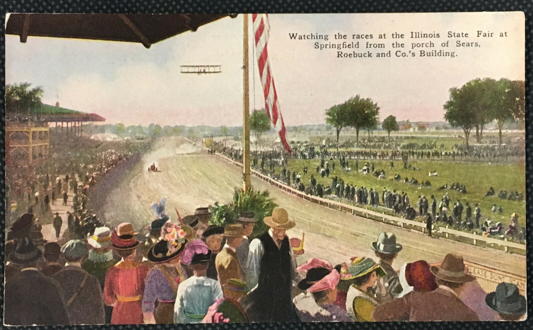 1900's Car Race Illinois State Fair Postcard Springfield Sears Roebuck Co
