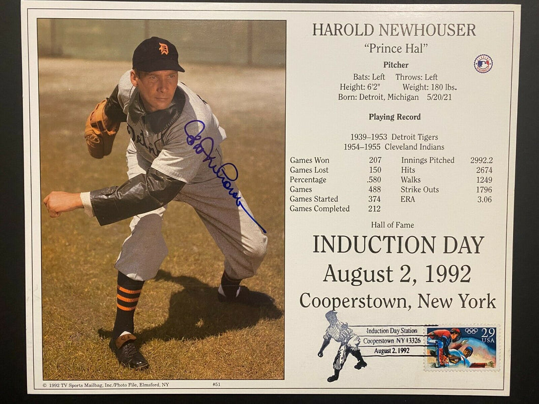 1992 Cooperstown Baseball HOF MLB Harold Newhouser Autographed Signed Photo