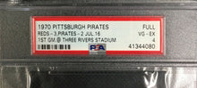 Load image into Gallery viewer, 1970 1st Game Three Rivers Stadium Ticket Pittsburgh Pirates vs Reds MLB PSA 4