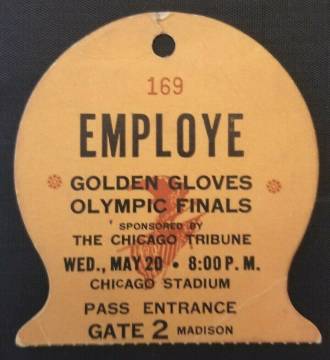 1959 Olympic Finals Golden Gloves Tournament Boxing Employee Pass