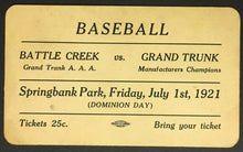 Load image into Gallery viewer, 1921 Baseball Admission Pass Ticket Springbank Park Battle Creek v Grand Trunk