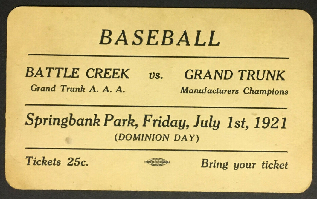 1921 Baseball Admission Pass Ticket Springbank Park Battle Creek v Grand Trunk