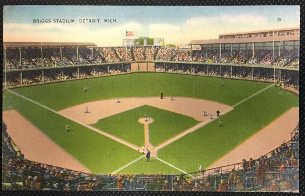 Detroit Michigan The New Briggs Stadium Baseball Postcard Tigers MLB Vintage