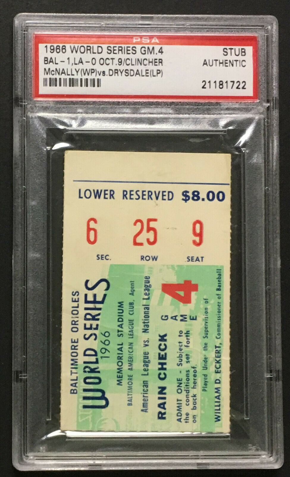 1966 World Series Ticket Game 4 Stub PSA Authentic Baltimore Orioles LA Dodgers