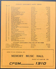 Load image into Gallery viewer, 1965 CFGM Country Music 1310 Radio Survey Chart Toronto Connie Smith Jim Reeves