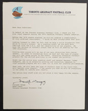 Load image into Gallery viewer, 1980 Toronto Argonauts Brochure + Letter From Argos Coach Forrest Gregg CFL VTG