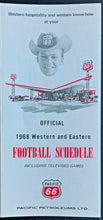 Load image into Gallery viewer, 1968 CFL Football Schedule Rare Pacific 66 Petroleums Advertising LTD Vintage