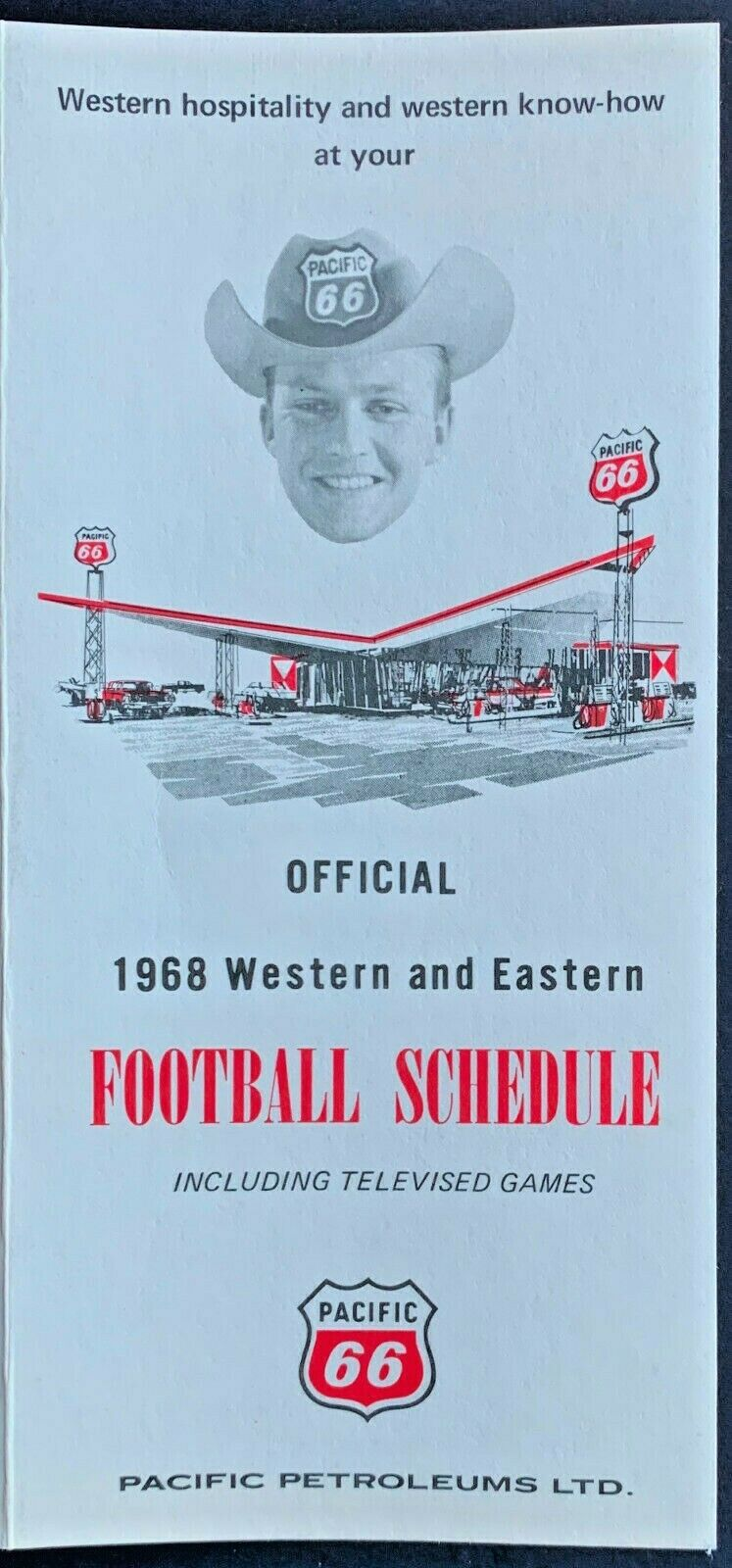 1968 CFL Football Schedule Rare Pacific 66 Petroleums Advertising LTD Vintage