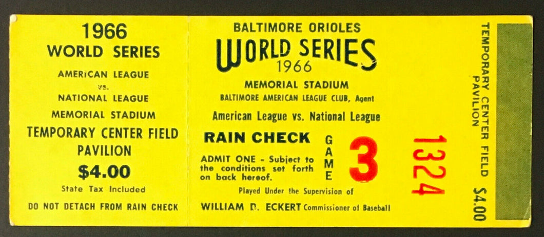 1966 World Series Ticket Game 3 Memorial Stadium Baltimore Orioles v LA Dodgers