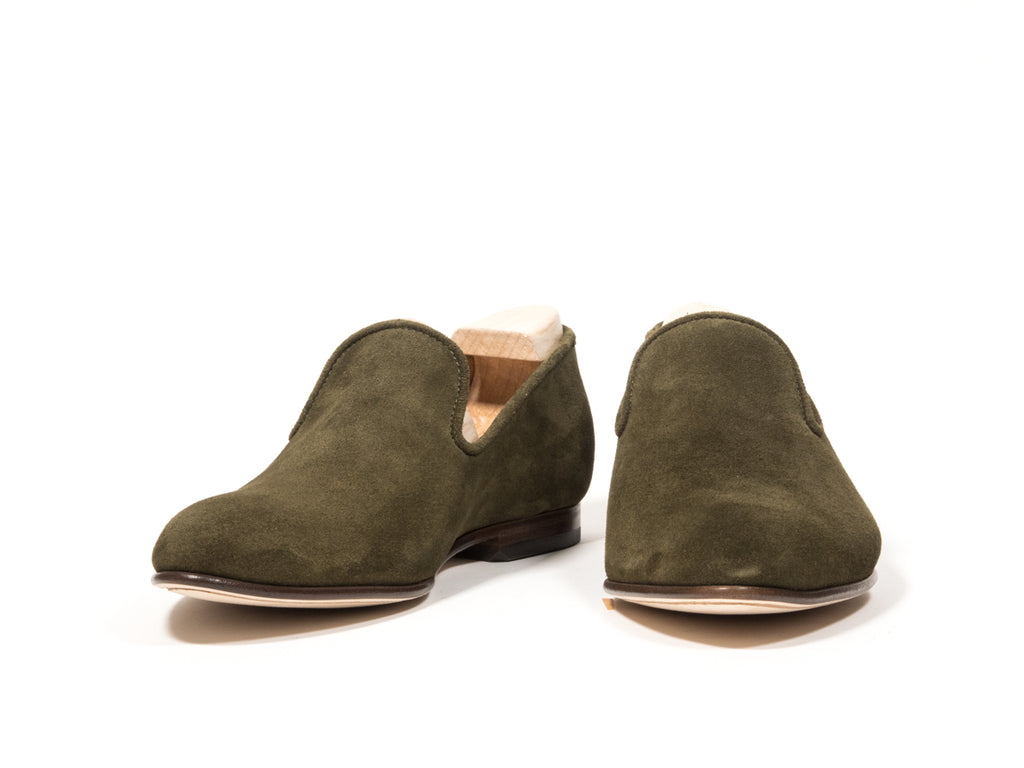 SLIPPER GREEN REVERSED SUEDE