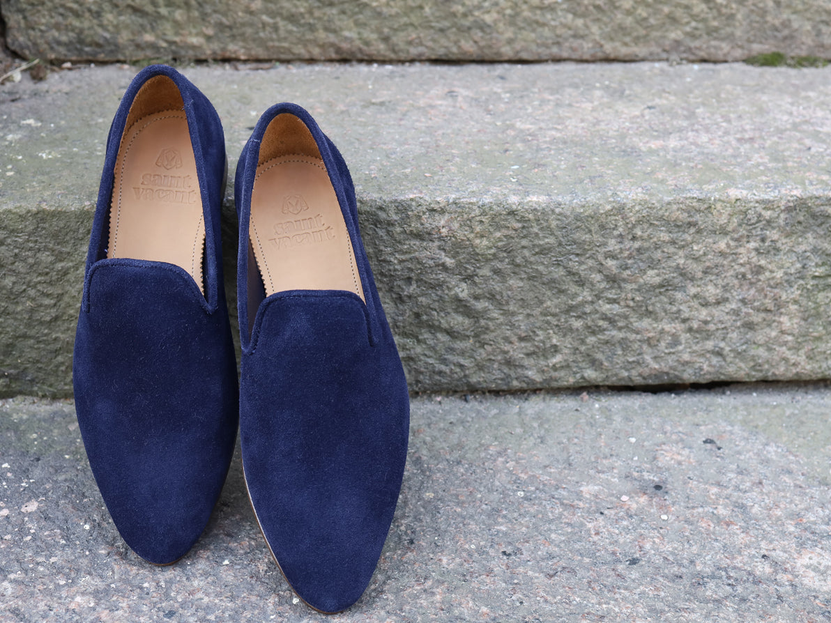 SLIPPER NAVY REVERSED SUEDE