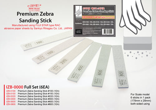 Infini Model - IZB-0000 Premium Zebra Sanding Stick Full Set 100-800