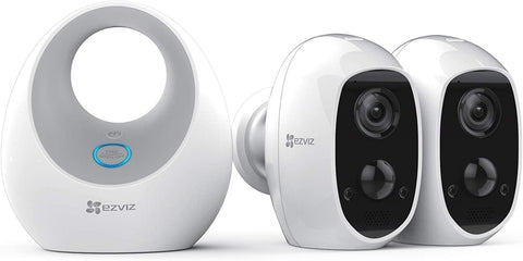 EZVIZ C3A and W2D- Wire-Free 1080p Security Camera System | 2 Cameras |Siren |  Two-Way Audio | PIR Motion Detection | Night Vision