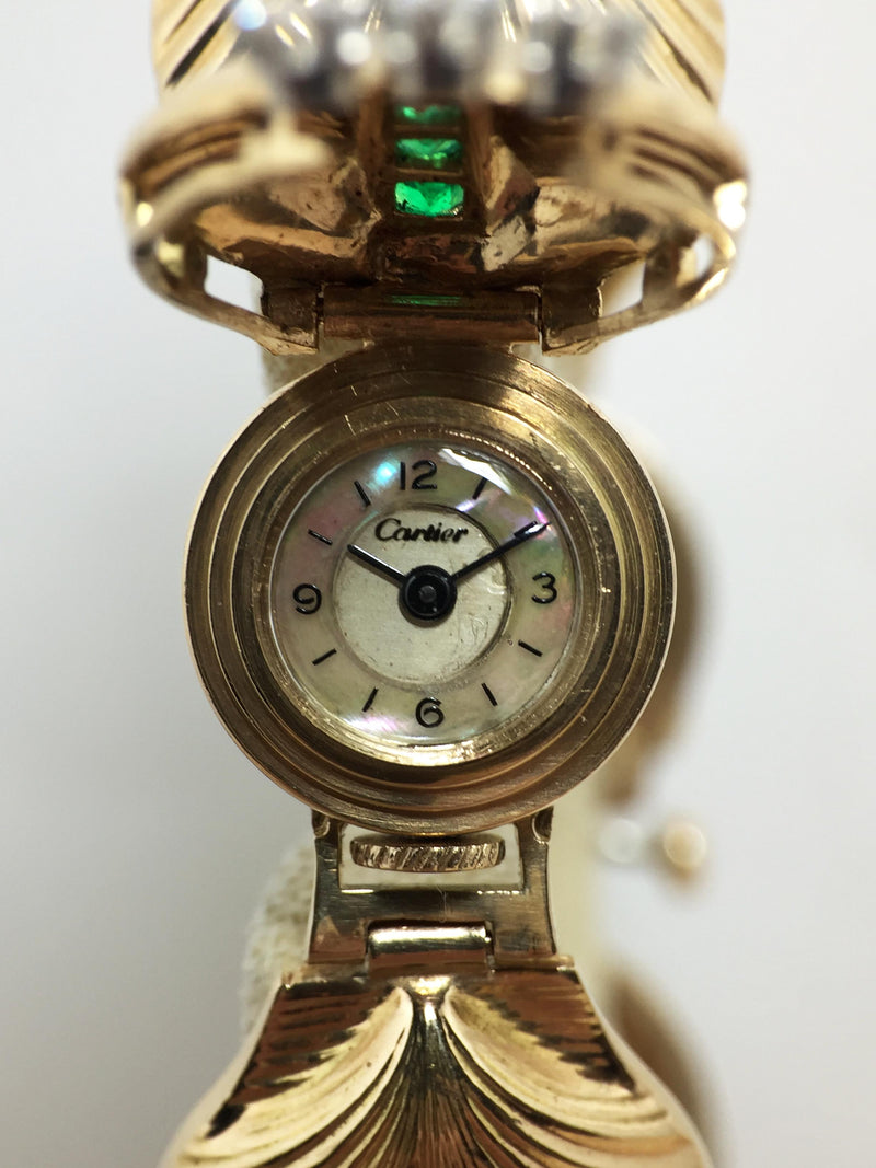 1950's Cartier Ladies 14K Shell Watch with Concealed Dial