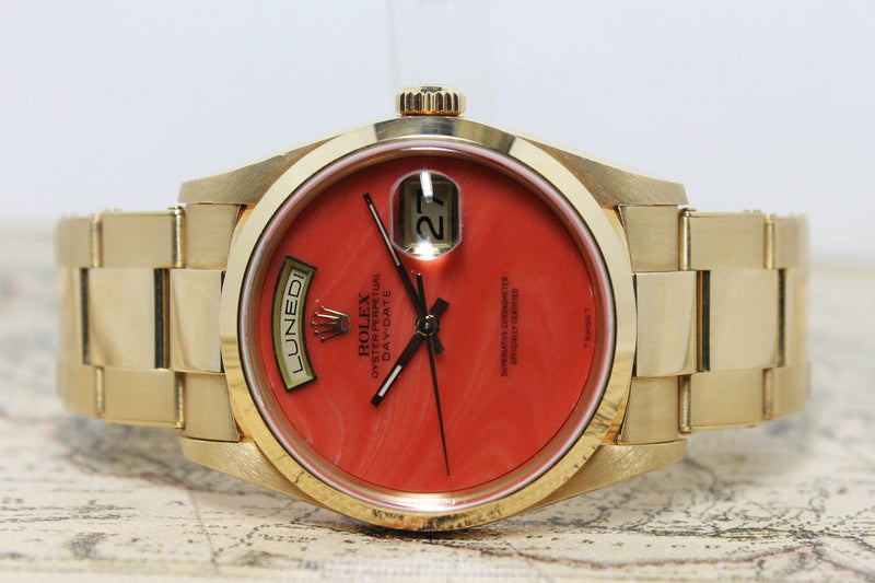 1999 Rolex Day Date Coral Ref. 18208 (with Papers) - Price on Request
