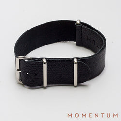 Leather Nato Strap Black - Grained Finish - Momentum Dubai