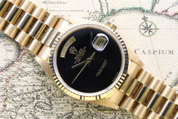 1989 Rolex Day Date Onyx NOS Ref. 18238 (Full Set)