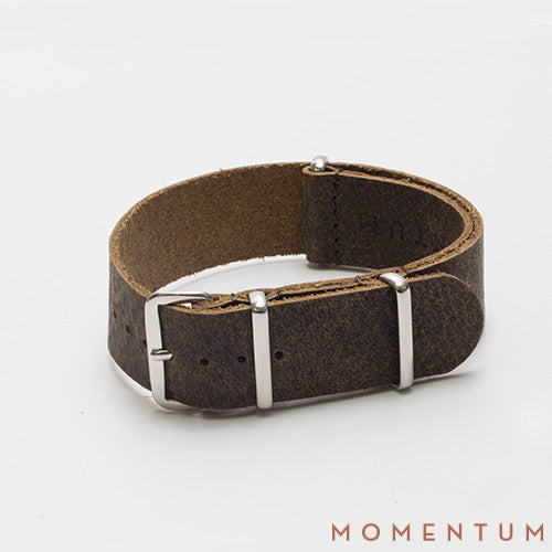 Leather Nato Strap Dark Green - Wax Finish - Momentum Dubai