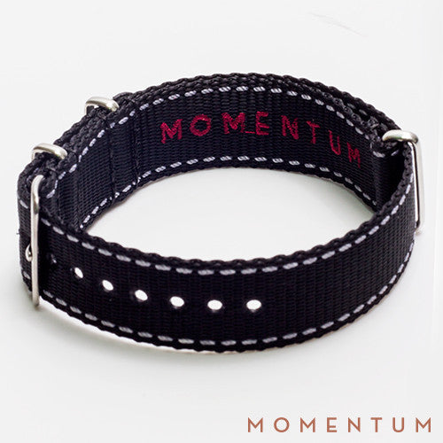Nato Strap Black & White Stitch Finish - Momentum Dubai