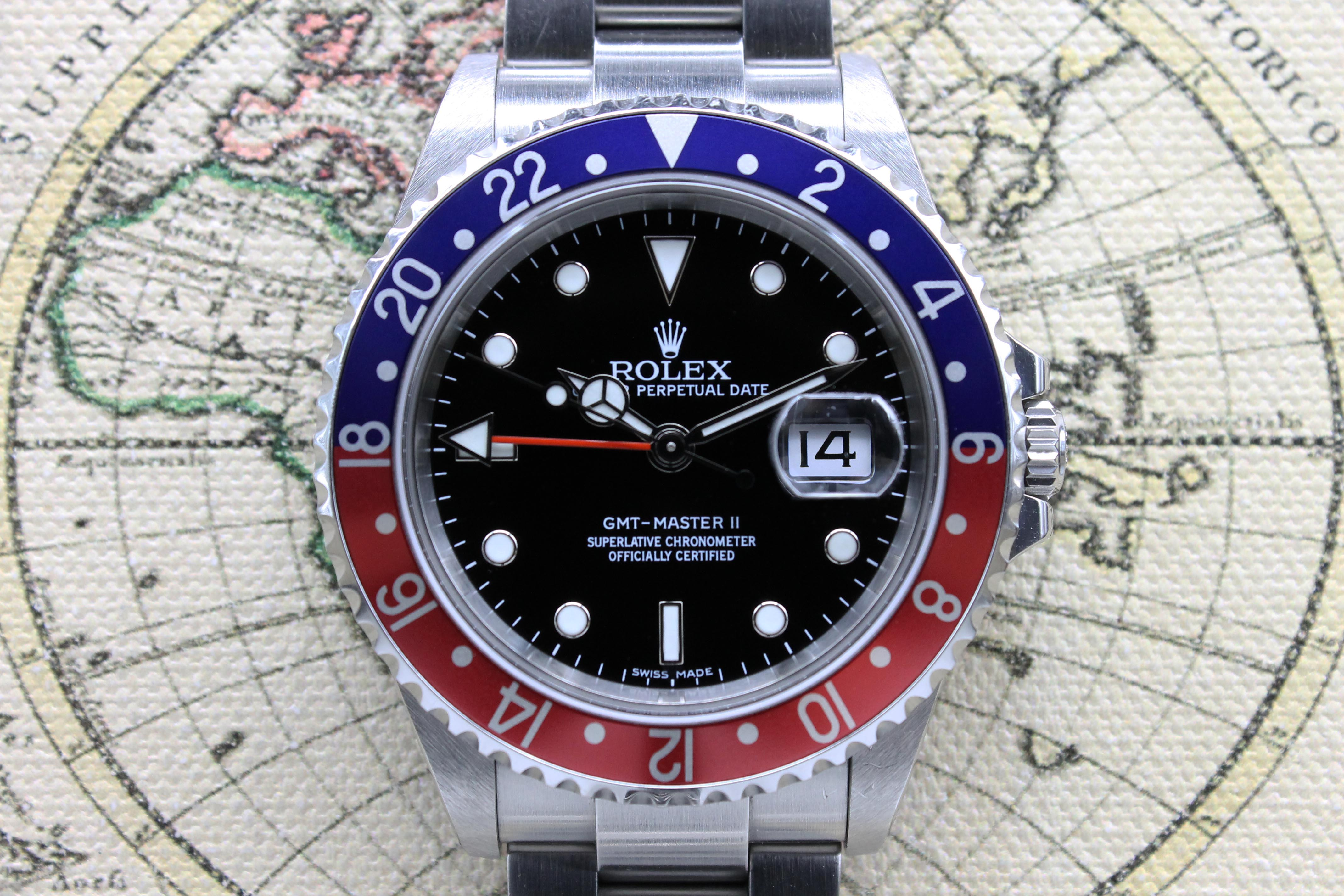 Rolex Gmt Master Ii Stick Dial 3186 Ref 16710b Year 2008 Full