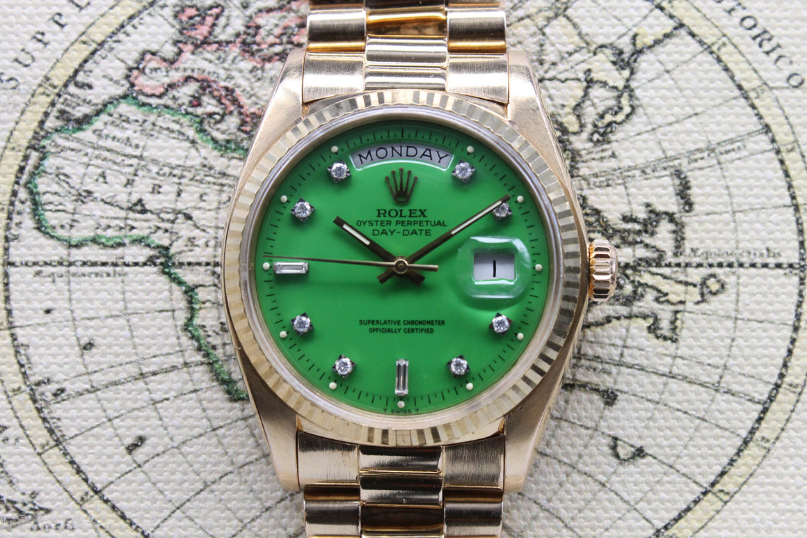 1973 Rolex Day Date Stella Green Diamond Dial Ref. 1803