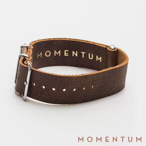Leather Nato Strap Medium Brown - Wax Finish - Momentum Dubai