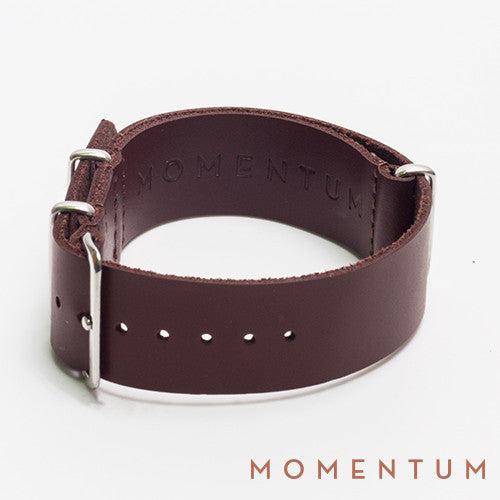 Leather Nato Strap Middle Brown - Matt Finish - Momentum Dubai