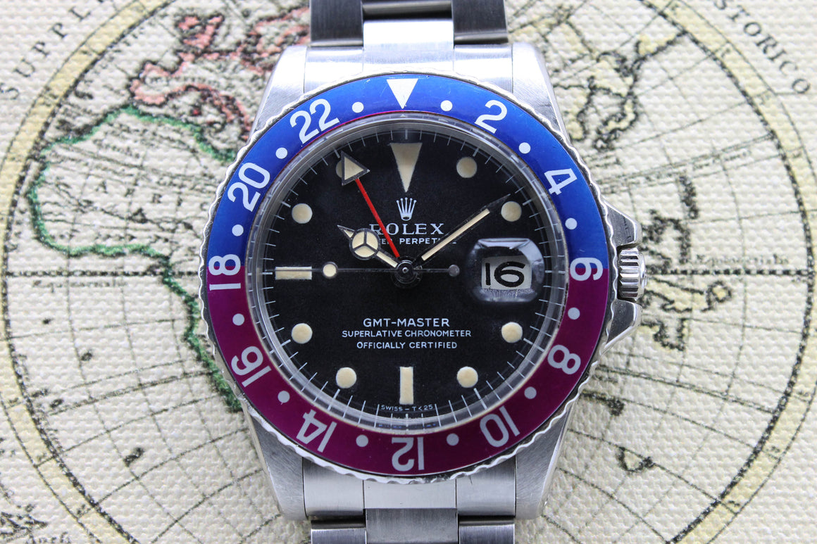 Rolex GMT Master MK1 Fuchsia Ref. 1675 Year 1969 (with RSC Warranty Paper & Booklet)