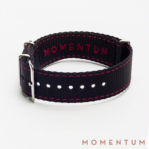 Nato Strap Black & Red Stitch Finish - Momentum Dubai
