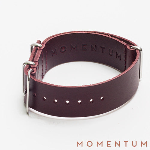 Leather Nato Strap Burgundy - Matt Finish - Momentum Dubai